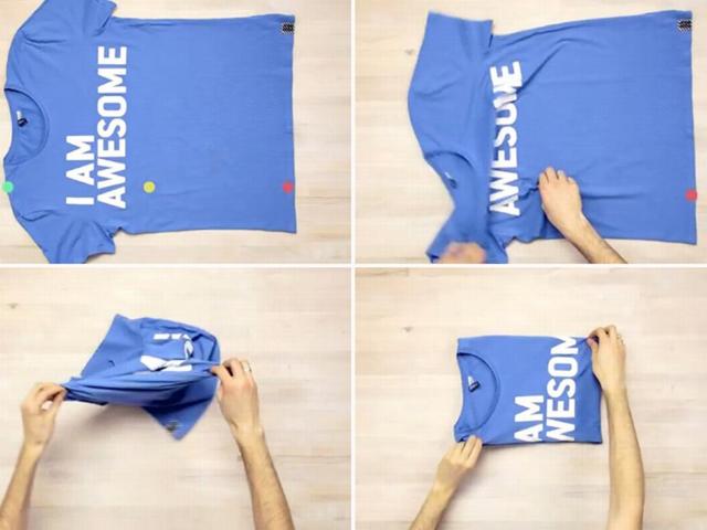 Как сложить футболку, чтобы она не помялась